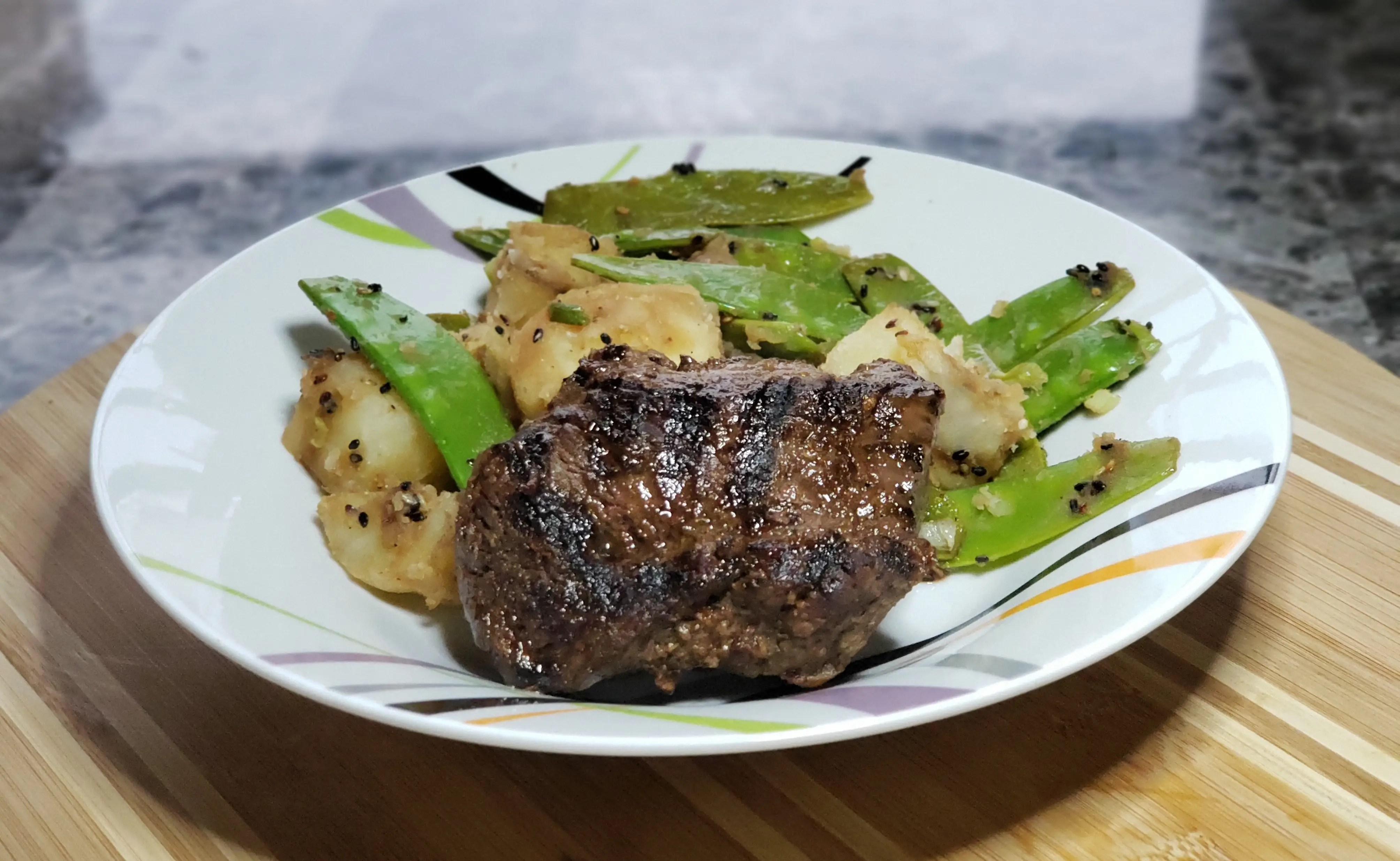 Tamari Grilled Steak with Snow Peas