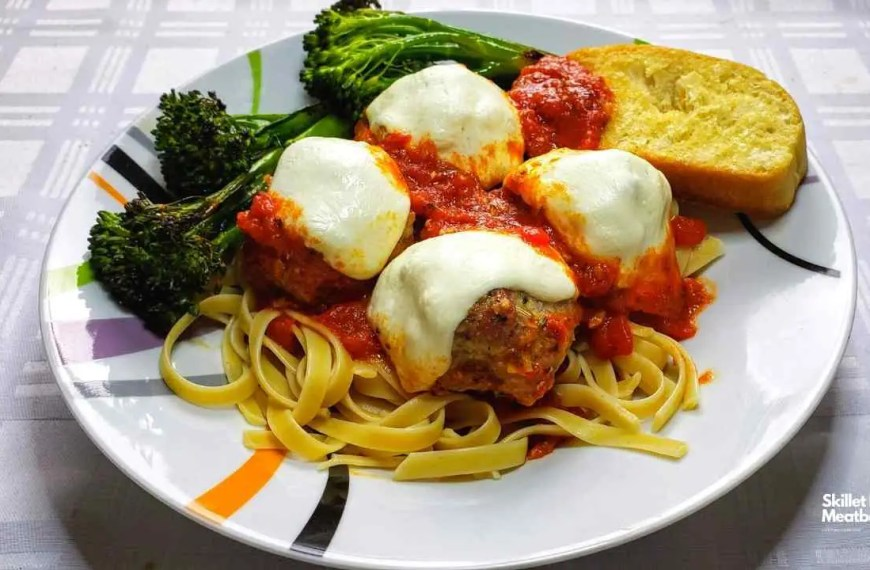 Skillet Meatball Parmesan with Broccoli Rabe