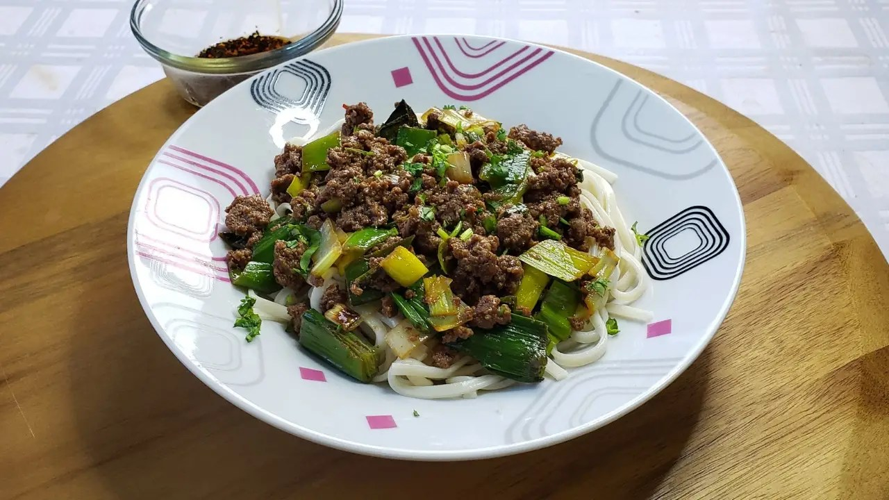Udon Noodles with Spicy Beef & Leeks