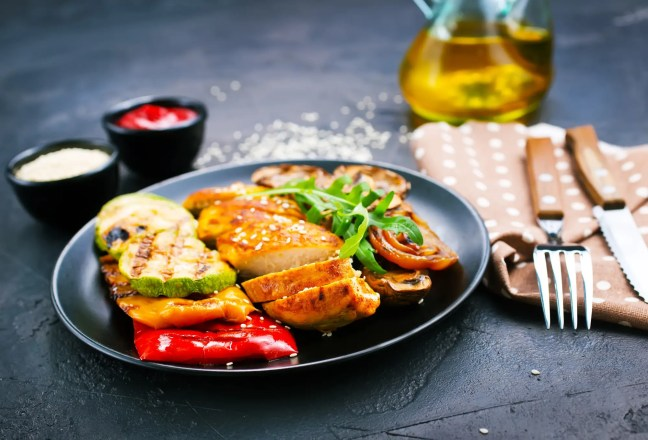 chicken meat with grilled vegetables