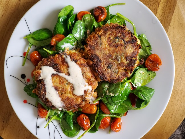 WHITE BEAN ZUCCHINI FRITTERS WITH CHIVE MAYO
