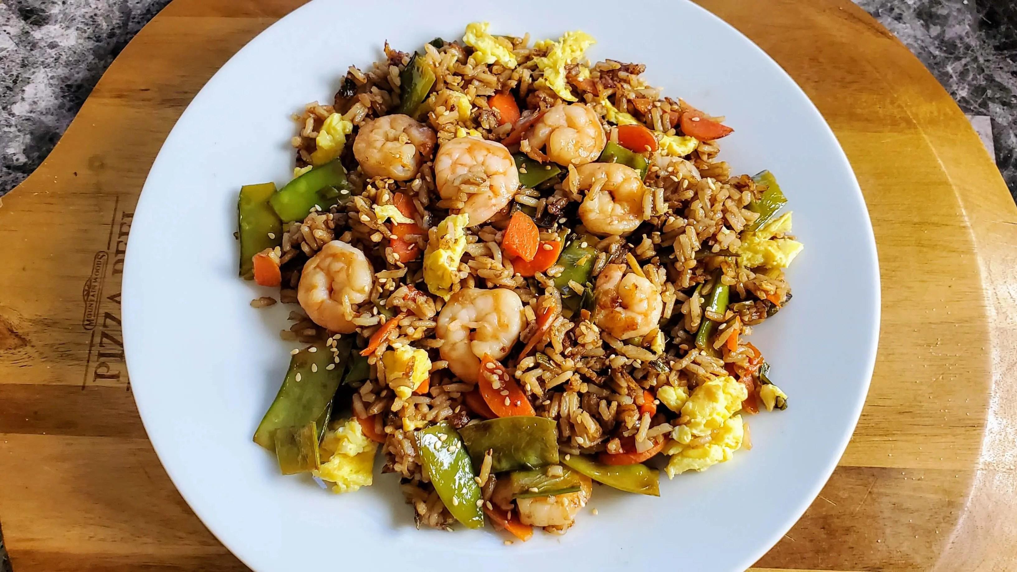 Simple Shrimp Fried Rice with Snow Peas & Carrots