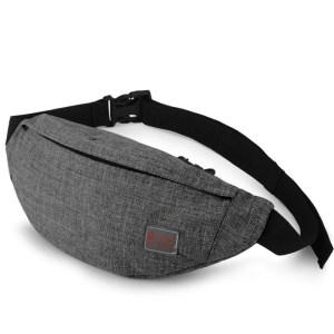 TINYAT Men Male Casual Functional Waist Bag Pack Money Phone Belt Bag T201 Gray Black Women Bag for Belt Canvas Hip Bag
