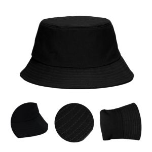 Black Unisex Bucket Hat Hunting Fishing Outdoor Cap Men's Women's Summer Sun Hat