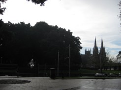 This beautiful church - Saint Mary's Cathedral - caught Bryan's eye as the rain began