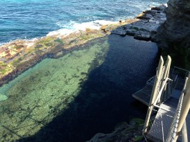Looking down at the Bogey Hole, a private bath dug by convicts
