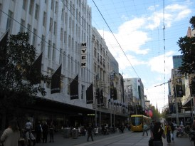 A look down #12 Bourke St Mall, the heart of Melbourne's shopping district