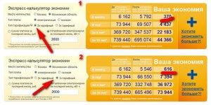 Результаты расчёта экономии на сайте мосэнергосбыта