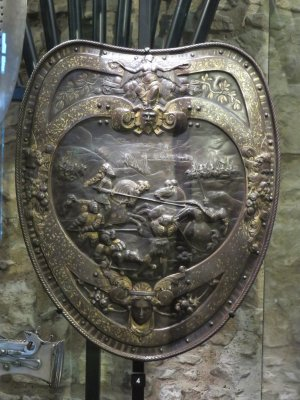decorated shield in the white tower of the tower of london
