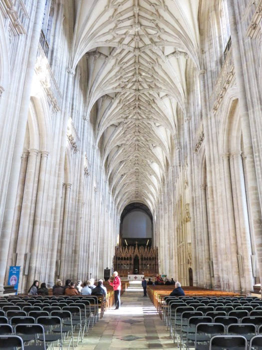winchester cathedral main aisle interior