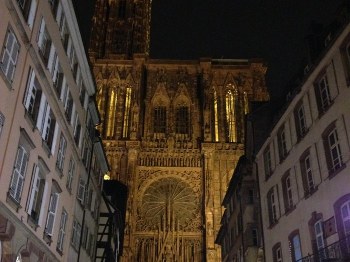 strasbourg cathedral at night