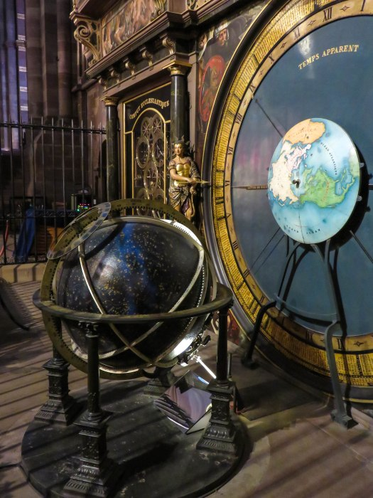 closeup of astronomical clock in strasbourg cathedral