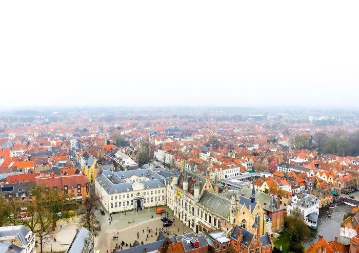 panoramic views of bruges belgium from the top of the belfry