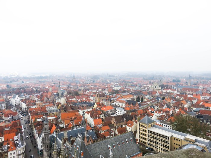 views of the orange roofs in bruges from the top of the belfry