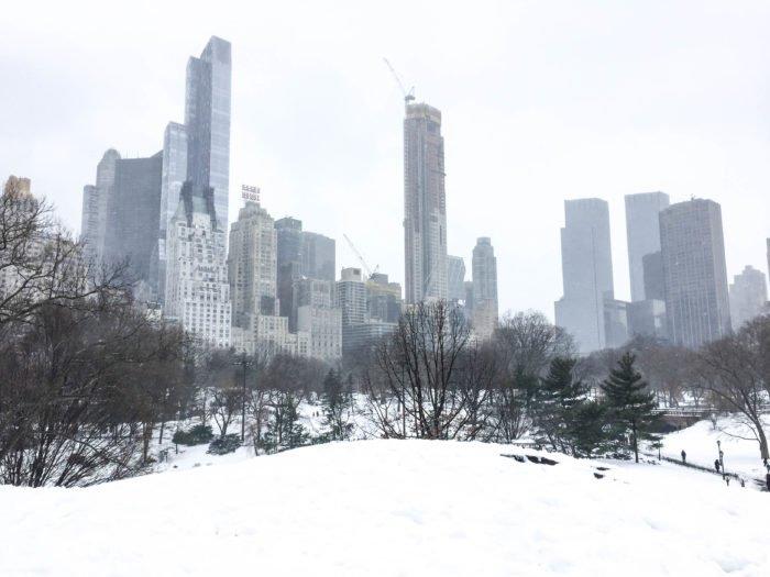 central park skyline snowy