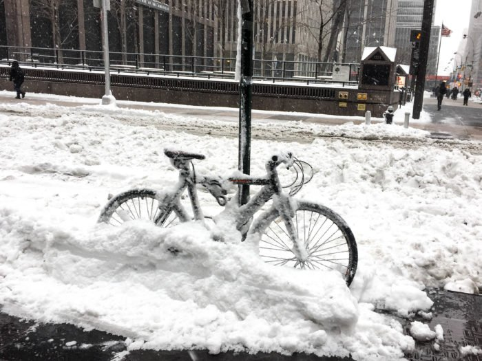 snow trapped bike nyc