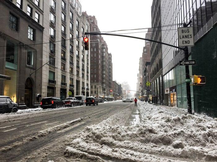 snowy street midtown nyc