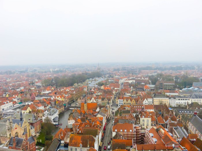 bruges streets from above