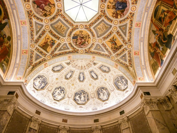 the rotunda at the morgan library in new york city, one of the prettiest spots and best hidden gems in nyc