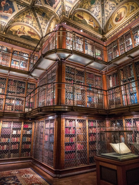 The morgan library interior has 3 floors of beautiful old books with great exhibitions showcasing the contents of the library. It is a must-see in NYC if you love books