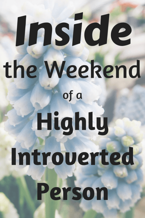 For an introvert, the weekend is a time to recharge, get inspired and prepare for the week ahead. Ever wondered what an introvert's weekend looks like?