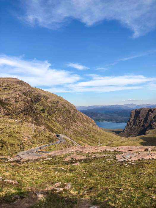 Image of the Bealach na Ba, a windy single track road through the Applecross mountains in Scotland that offers beautiful views of the area. #Scotland #Applecross #highlands