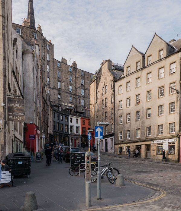 view of victoria street from the edge of grassmarket in edinburgh scotland