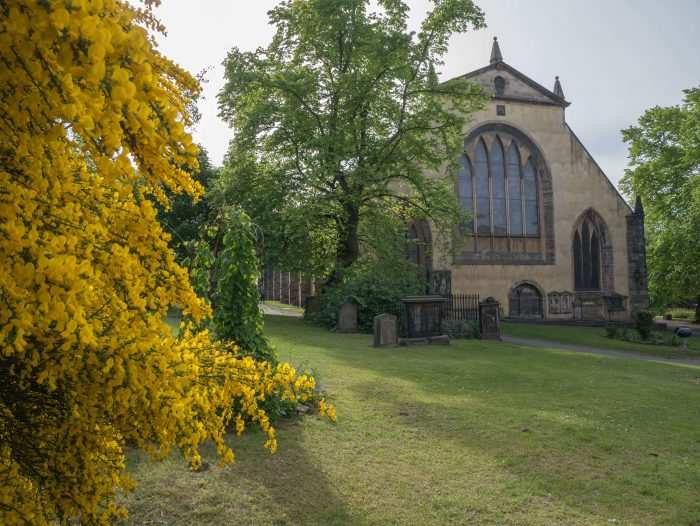 image of Greyfriars Kirk taken from Greyfriars Kirkyard in Edinburgh Scotland