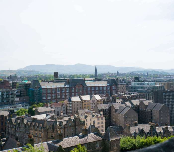 view of the edinburgh skyline from edinburgh castle