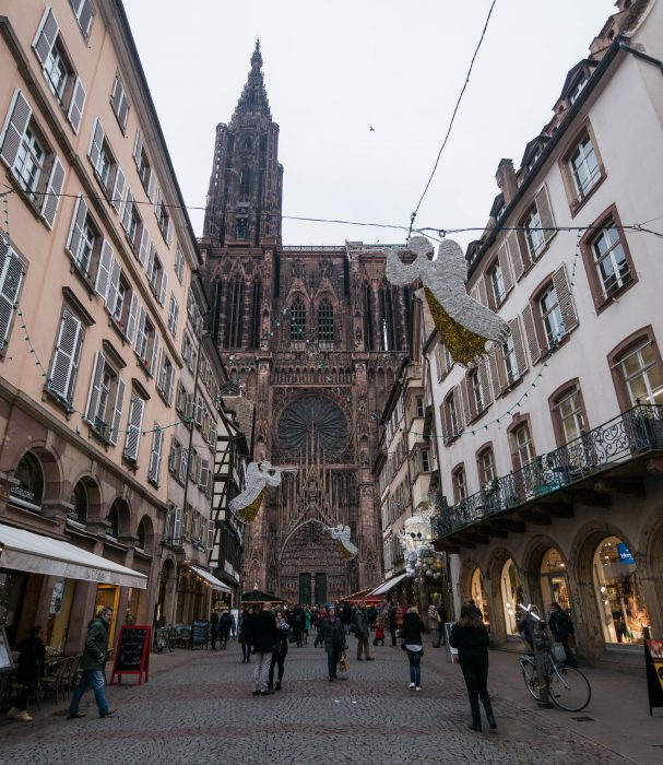 exterior of strasbourg cathedral in strasbourg, france