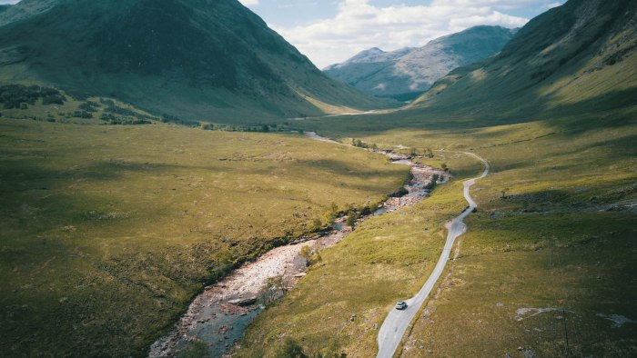 single track road scotland from above