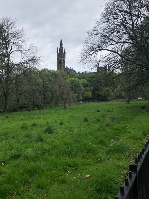kelvingrove park glasgow view of university of glasgow