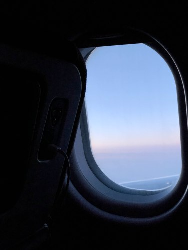 image out of an airplane window somewhere over the atlantic ocean