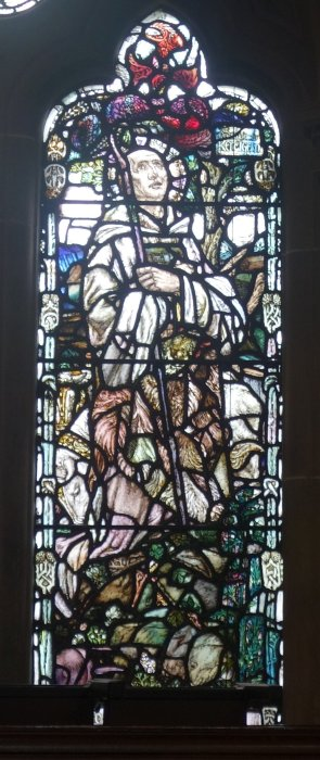 an image in stained glass of St Mungo or Kentigern from Glasgow Bute Hall