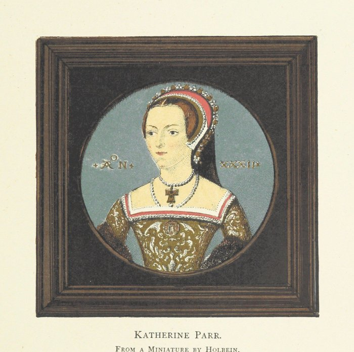 a portrait of catherine parr from 1877 from a miniature by holbein