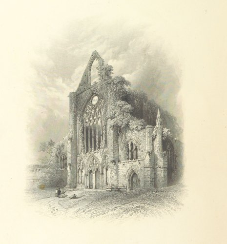 print of tintern abbey from a book of poems on tintern abbet by frederick bollingbroke ribbans in 1854