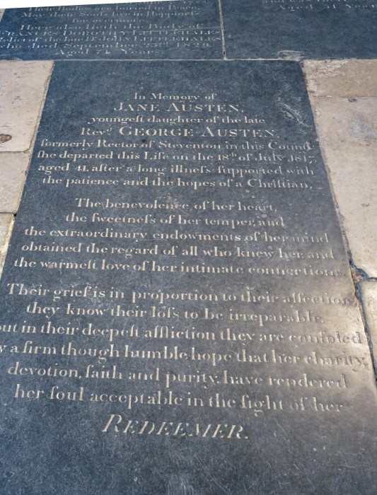 jane austen's grave in winchester cathedral england
