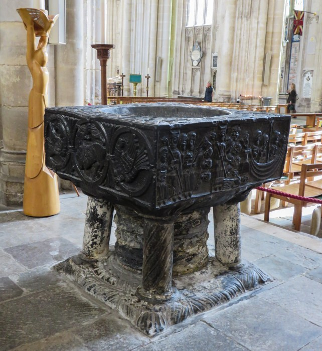 tournai marble font in winchester cathedral england