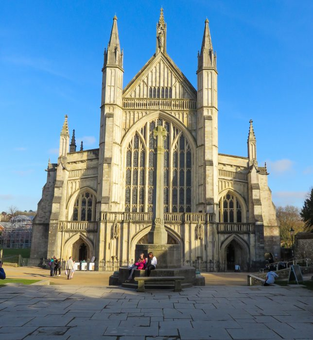 exterior image of winchester cathedral on a sunny day