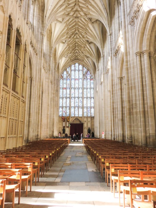 interior nave of winchester cathedral