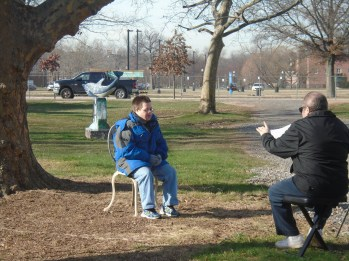 """Eric Schwake being interviewed for """"Living with Downs: Featuring Eric Schwake."""" Photo: Jonathan Chernok for Life-Wire News Service"""