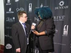 Eric Schwacke (left) interviews designer Josefa da Silva