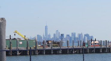 Manhattan Skyline from the pier at the Staten Island Lighthouse Depot. Photo: Meredith Arout for Life-Wire News Service.