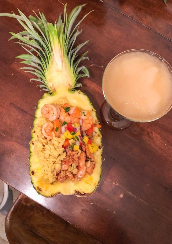 What's for dinner? Chicken & Shrimp Pineapple with Homemade Mango Salsa