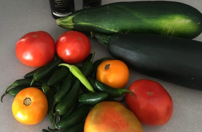 fresh tomatoes, jalapeños, zucchini from the garden