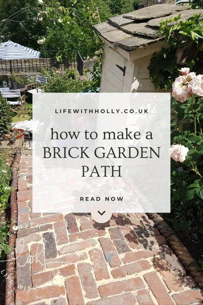 """Flat image showing text """"How to make a brick garden path"""" and a summer garden"""