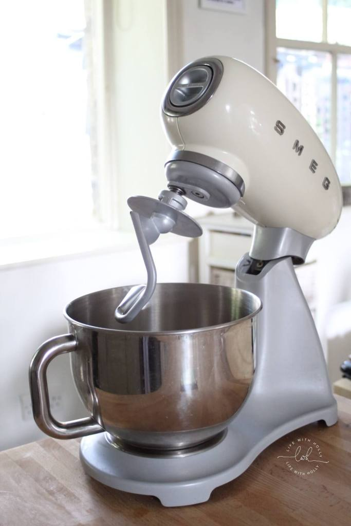 Cream Smeg Stand Mixer - Quick and Easy Pizza Dough Recipe by Life with Holly