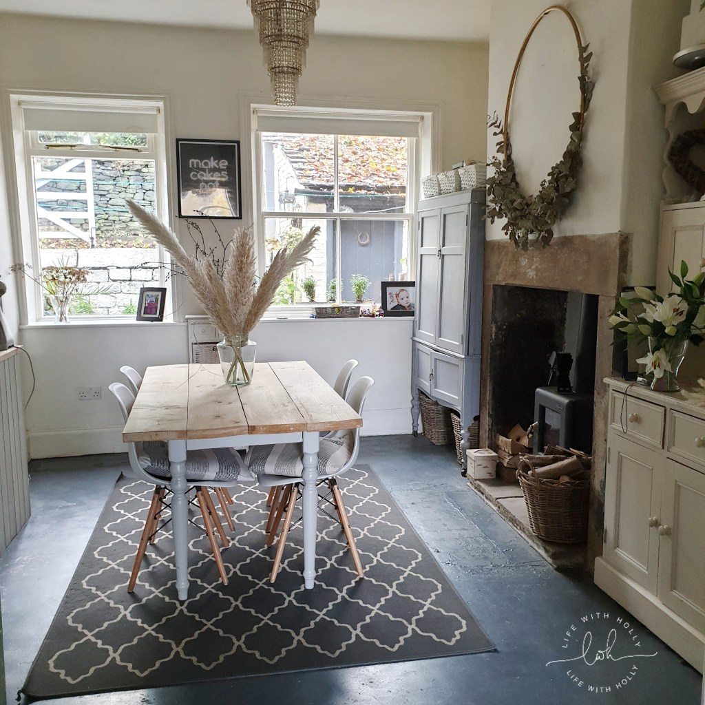 Victorian Kitchen Dining Area with Grey Painted Concrete Floor by Life with Holly 2020 Goals