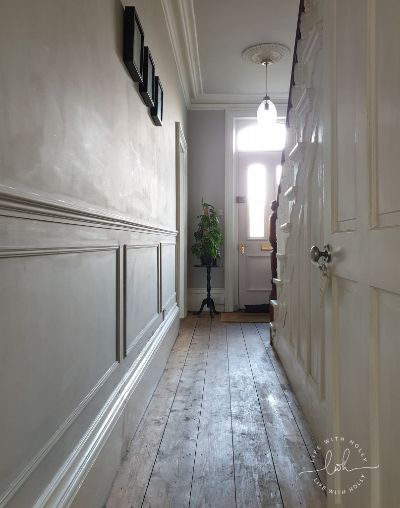 How-to-Panel-a-Victorian-Hallway-Wall-an-easy-tutorial-by-Life-with-Holly Cornforth White and Calamine