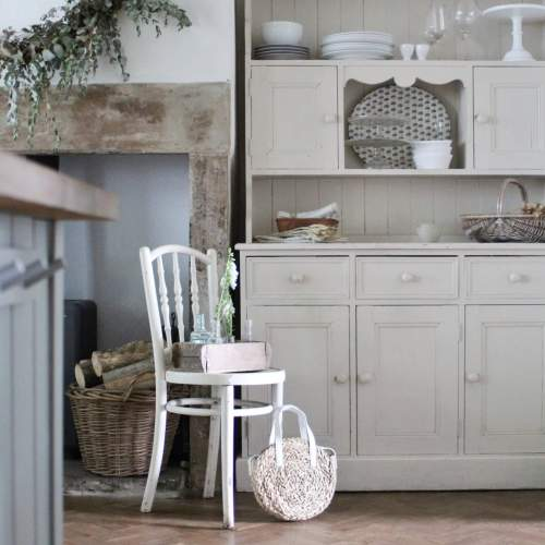 Spring Oak LVT Parquet Floor from Harvey Maria - Kitchen Floor Transformation by Life with Holly - Cream Rustic Kitchen Dresser